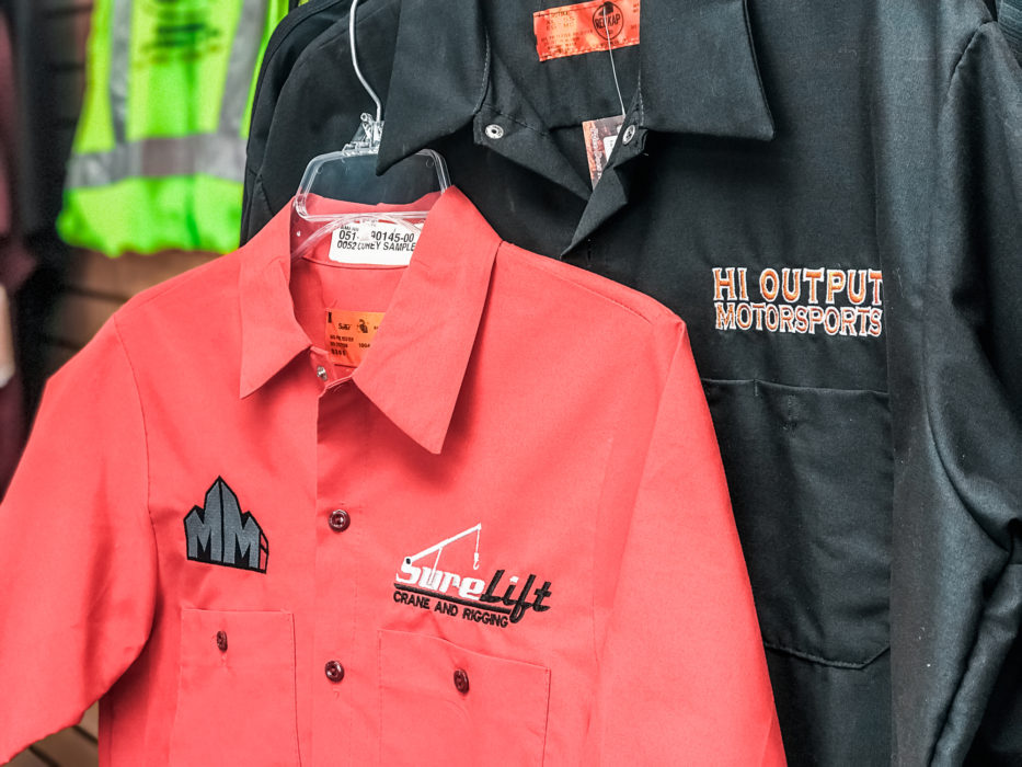 Embroidered shirts with business logo